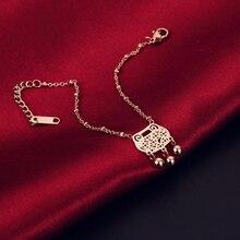 2018 Longevity lock Shape Bell Bracelet Fashion Jewelry Titanium Steel Rose Gold Color Valentine Gift Free Shipping Not Fade faux aquamarine longevity lock bead bracelet
