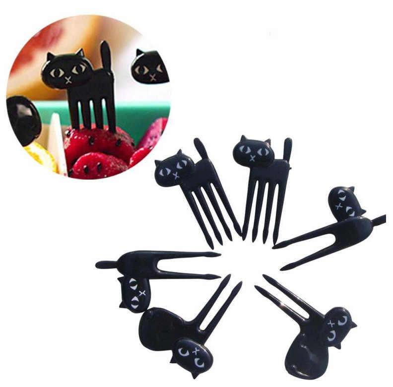 6 pcs Black Cat ส้อมผลไม้น่ารักการ์ตูนเด็กส้อมไม้จิ้มฟัน Gadgets ลูกแมวหวานตกแต่งครัวอุปกรณ์เสริม