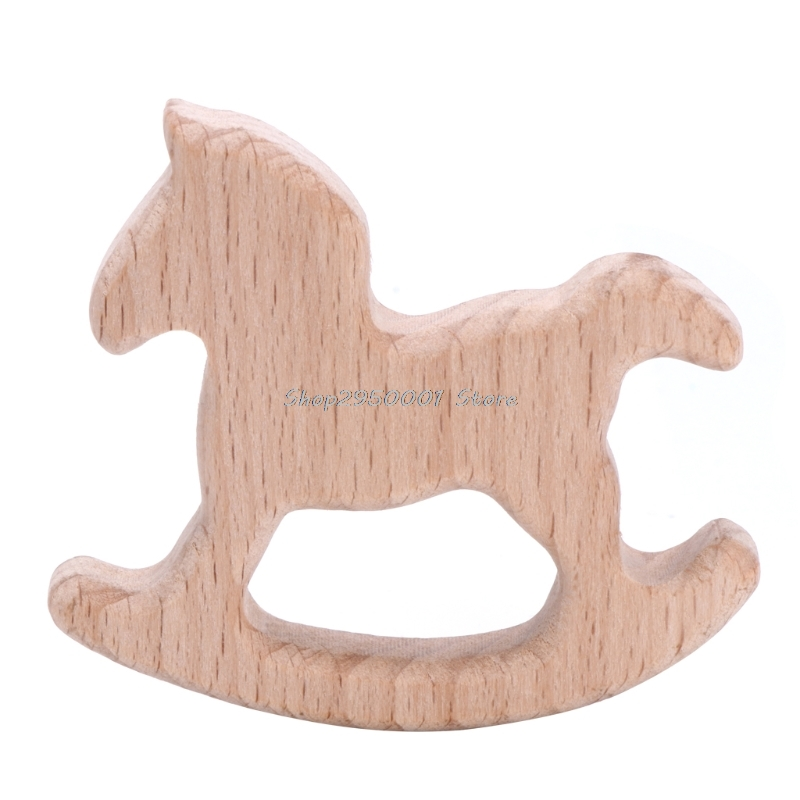 2017  Baby Natural Wood Trojan Horse Shape Pendant DIY Jewelry Findings Teether Shower    AUG29_20