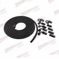 AN8 8AN Nylon Braided Oil/Fuel Hose + Fitting Hose End Adaptor BLACK