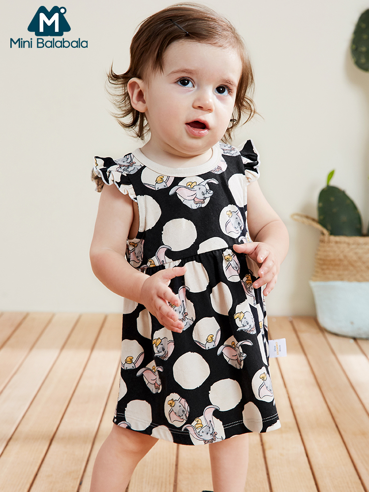 Mini BalabalaInfant Children Clothing 2019 Summer New Baby Girls Dumbo IP Dress Small Flying Elephant Dresses(China)