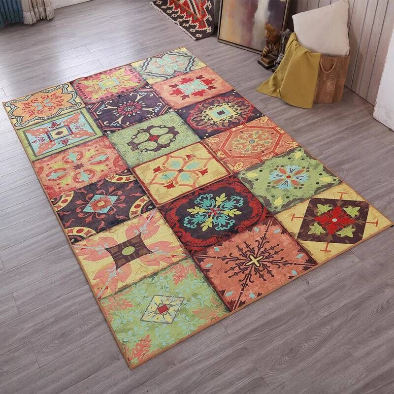 Large Vintage Carpets For Living Room Bedroom Kids Room Nordic Abstract Art <font><b>Sofa</b></font> Area Rugs Doormat Yoga Pad Antiskid Floor Mat image