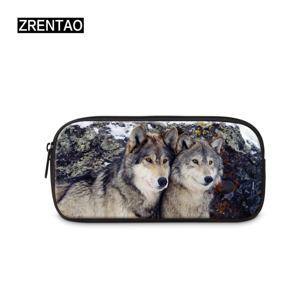 Wolf Printing Stationery Canvas Pencil Case School PencilBag School Pencilcase Office Supplies Pen Bag Pencils Writing Bts Gifts