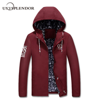 unisplendor 2018 Long Trench Coat Men Slim Fit Men Fashion Zipper Hooded Jacket 4 Color Plus Size 4XL Classic Windbreaker YN838