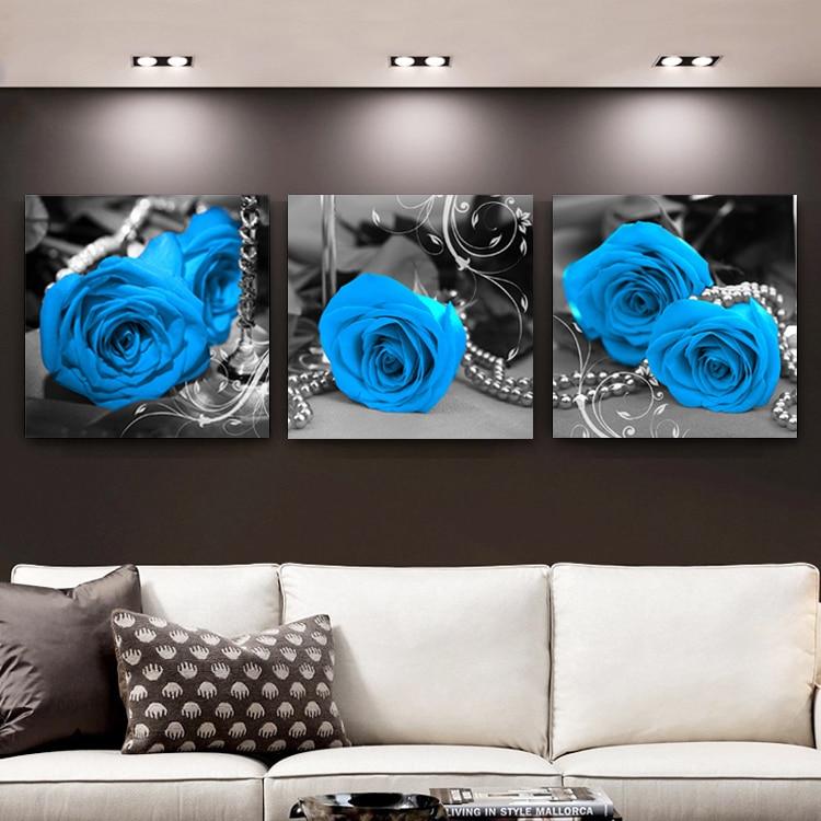Diy الماس اللوحة الأزرق ساحر 3-Piece روز - الفنون والحرف والخياطة