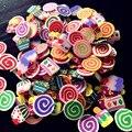Arcilla del Polímero 3D Nail Sticker Decoración Herramientas 1000 Unidades Paquete Nail Tiny Fimo Rebanadas de Pastel Forma Fimo Pegatinas de Colores Mezclados