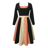 Sisjuly Women S Fall Dresses Color Block A Line Pleated Long Sleeve Patchwork Belt Bowknot O