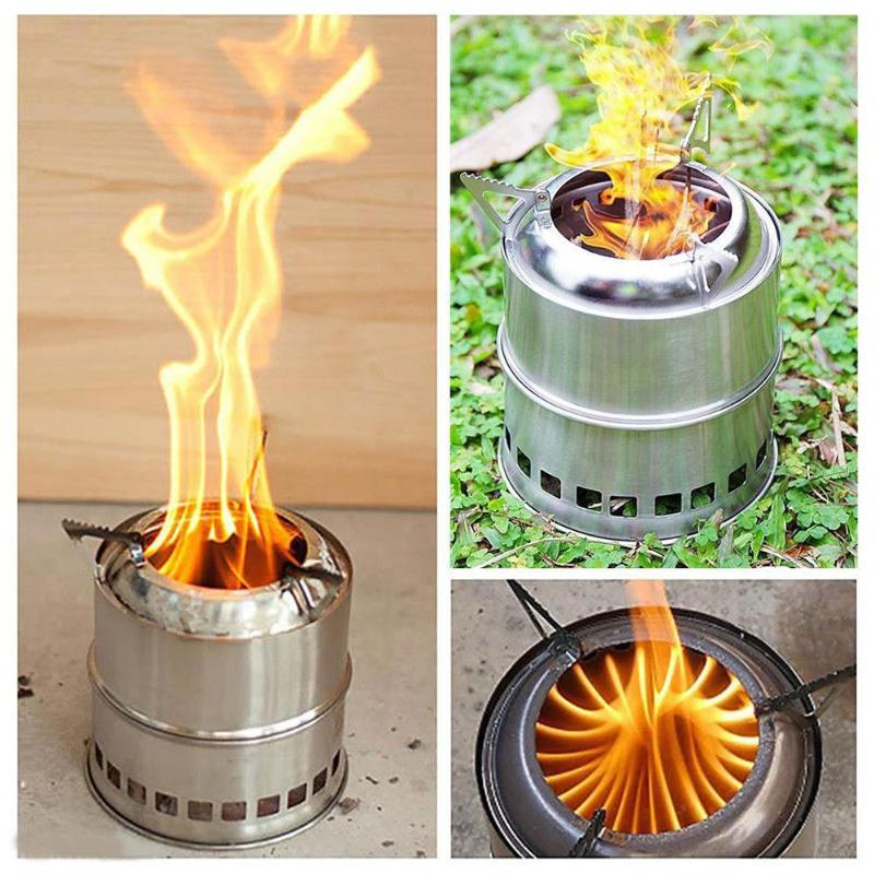 Portable Fuel Furnace Burner Stainless Steel Folding Wood Stove For Picnic Cooking Hiking Travel Camping Compact Outdoor Stoves