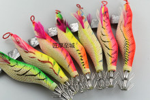 Fishing Lure Hard Bait Fake Shrimp Wood Wobbler Squid Jig 1pc/lot Artificial jigging Octopus