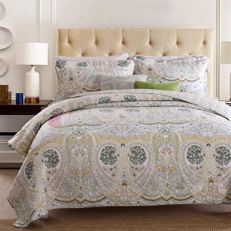 CHAUSUB المفرش لحاف مجموعة 3 قطعة غطاء السرير خمر المطبوعة القطن لحاف مبطن غطاء السرير ملاءات المخدة الملك حجم بطانية-في لحاف من المنزل والحديقة على  مجموعة 1