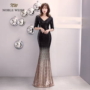 Image 1 - prom dresses 2019 v neck mermaid prom dress sexy vestidos de gala zipper back floor length prom gown with short sleeves