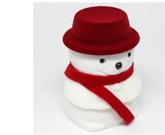 100pcs/lot fedex fast free shipping creative style snowman jewelry box Christmas Snowman Velvet Ring Box Earring cases