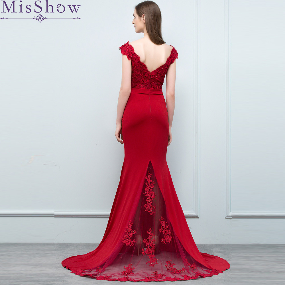 2018 Burgundy Lace Mermaid   Prom     Dresses   Long 2018] Fashion Sweep Train Sexy Satin Trumpet V-Neck Elegant   Prom     Dresses   Party Gown
