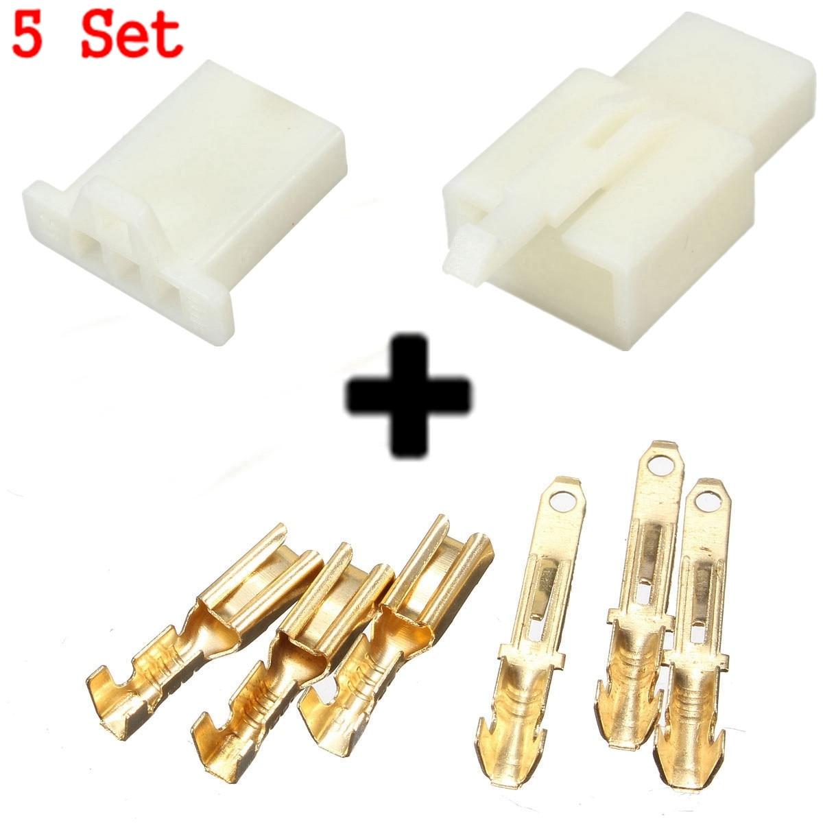 5 Set 2.8mm <font><b>Male</b></font> <font><b>Female</b></font> Housing <font><b>3</b></font> <font><b>Way</b></font> <font><b>Motorcycle</b></font> <font><b>Electrical</b></font> Connector Terminal