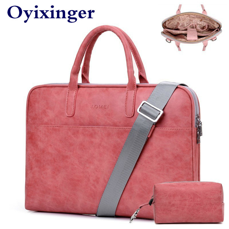 Women Red Leather Laptop Bags For Macbook Pro Air 13 Case 14 15 Inch Computer Notebook Bag Men Shoulder Bags For Lenovo HP Dell