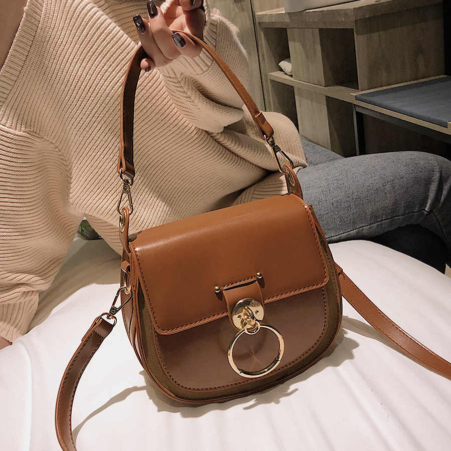 2a7fc073 MANFUNI Retro Bolso pequeño para mujer anillo de moda bolsa de hombro  señoras PU cuadrado pequeño