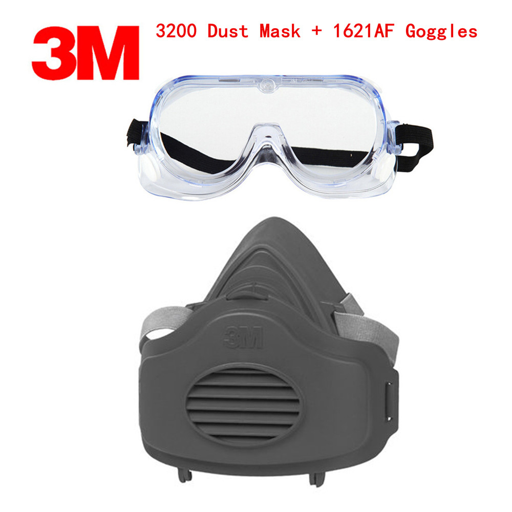 3M 3200+1621AF Dust Mask Respirator Set KN95 Mask with Goggles Anti-dust gas Anti-fog And Haze PM2.5 Protective Mask Suit new respirator gas masks 7 piece suit dust proof spraying anti fog and haze anti gas spray respirator masks advanced silicone