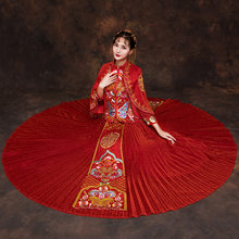 New Arrival Traditional Chinese Wedding Dress Embroidery Cheongsam Beaded Beads Dresses Retro Dressing Gown Bride Traditions(China)