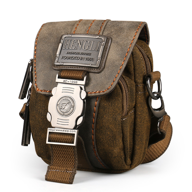 Ruil retro canvas small bag men fashion multi-functional pockets leisure travel phone bag high-quality toolkit vintage package
