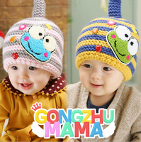 Winter Kids Hat Cap Cute Frog Pattern Soft Hedging Ear Protection Knit Cap Suit For