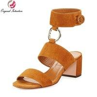 Super Elegamt Women Sandals 2017 Fashion Open Toe Square Heels Sandals Elegant Black Green Camel Red