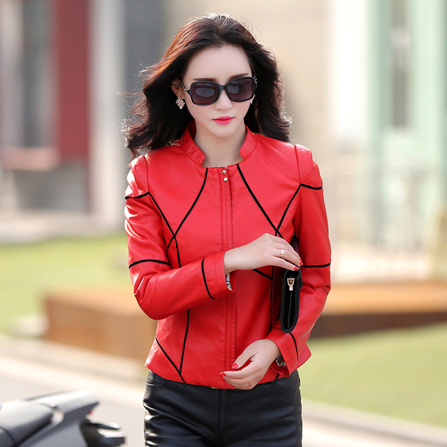 2016 spring new arrivals women leather clothing female short outerwear slim motorcycle leather jacket coat women