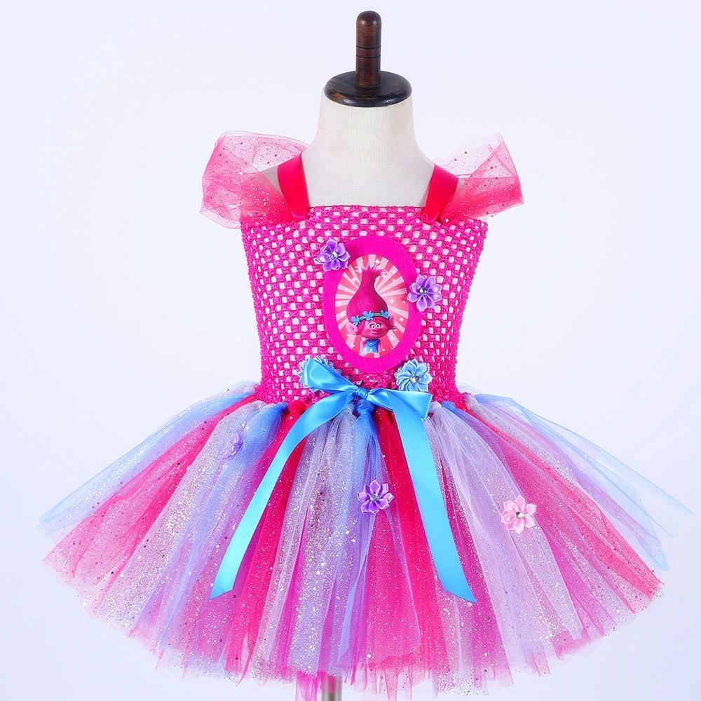 Sparkly Princess Trolls Tutu Dress Inspired Handmade Kids