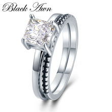 [BLACK AWN] 2.5g 925 Sterling Silver Jewelry Row Black Stone Wedding Ring Sets for Women Femme Bijoux Bague C436
