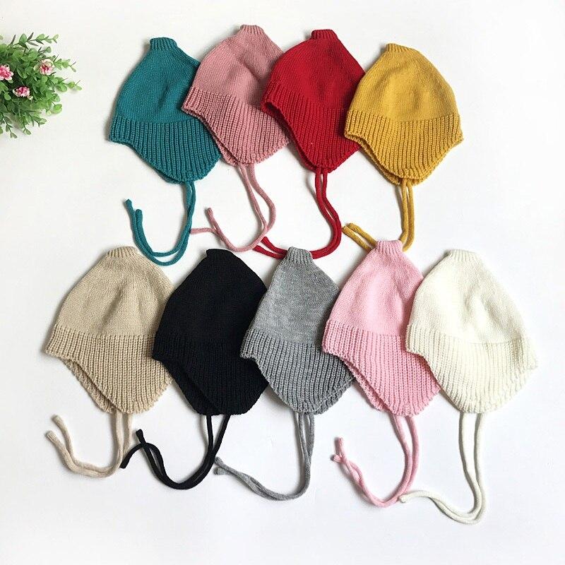2018 Autumn Winter Pure Cartoon Ear Toddler Hats Boy Babys Girls Caps Warm Knitted Newborn Hats 0~3 Y S2 цена