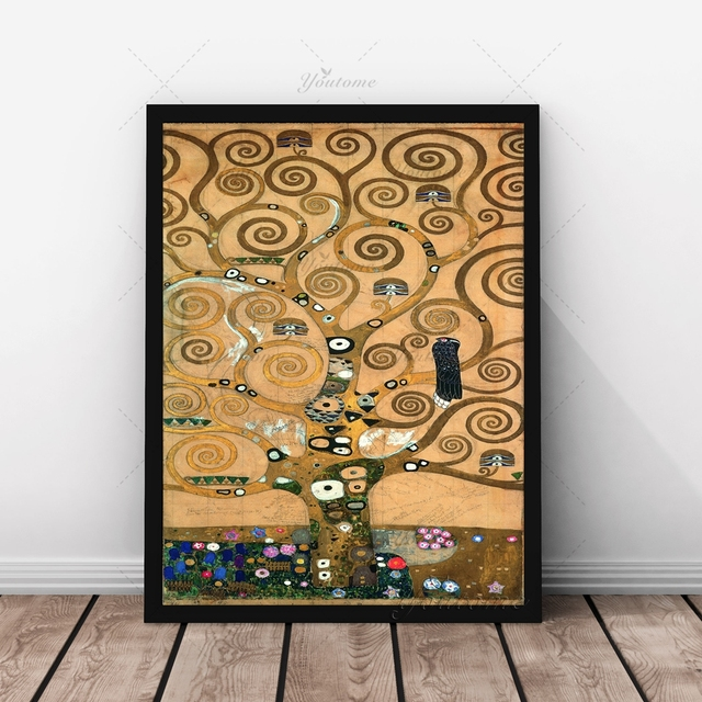 austria gustav klimt tree of life canvas prints aabstract oil painting printed on canvas home decoration