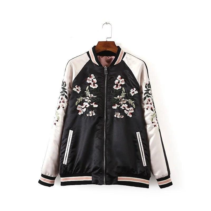 Autumn Women Flower Embroidery Bomber   Jacket   Patchwork Both Sides Harajuku Pilot Casual   Basic     Jackets   Coat