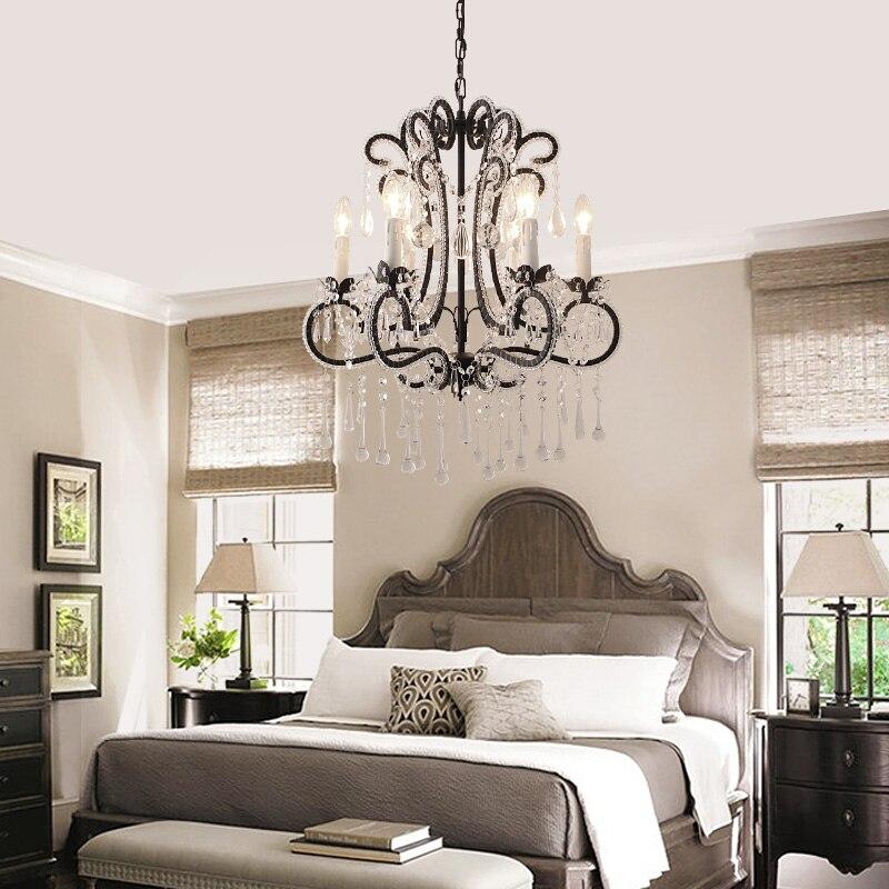 Livraison gratuite vintage lustre chambre noir suspension lumière lustres en cristal antique lustre salon suspension lampe