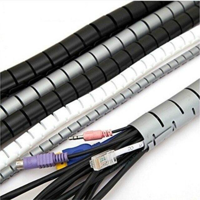 Câble fil enrouleur pour écouteurs 1 M 3FT Tube spirale câble enrouleur cordon protecteur gestion Flexible fil stockage tuyau 16mm téléphone cordon