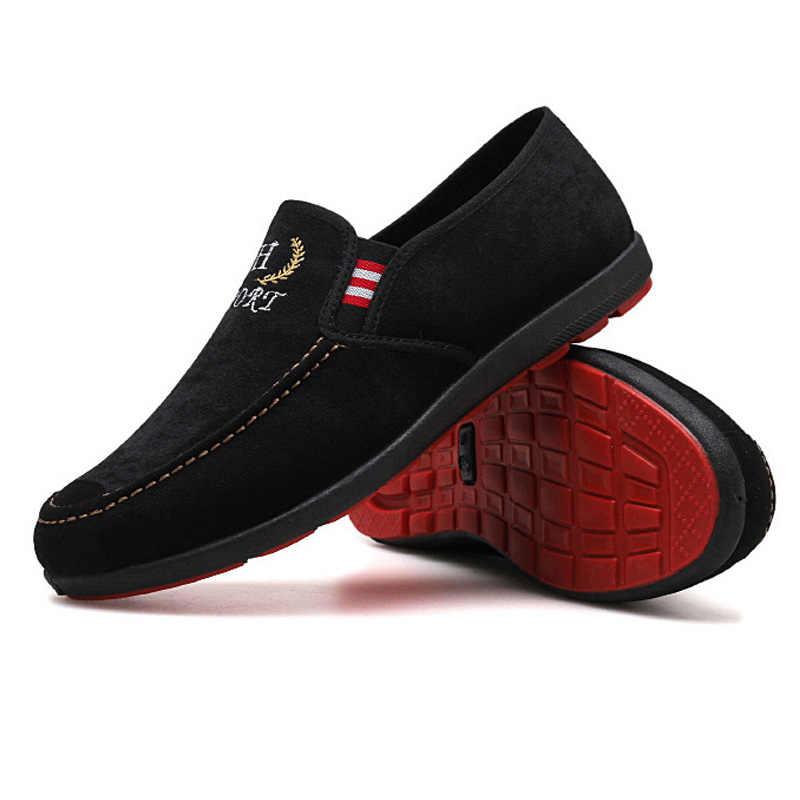 Zapatos de hombre 2019 verano hombres zapatos casuales zapatos de lona deslizantes mocasines de moda hombres Casual zapatillas transpirables al aire libre hombre zapatos