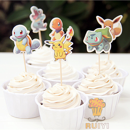 24pcs Pokemon Pikachu Cupcake Wrappers Toppers Cake Cups Decor Birthday Party