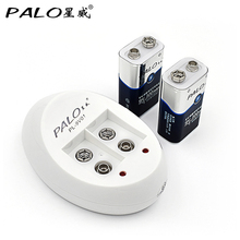PALO 2pcs Ni-Mh 9V Bateria Rechargeable Batteries with EU Smart Battery Charger for 6F22 9V Rechargeable batteries set недорого