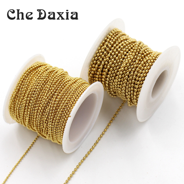 US $11 0 |10m/roll 1 5mm/2 0mm Diameter Ball chain Gold Plating stainless  steel link chains for DIY Handmade necklace Jewelry accessories-in Jewelry