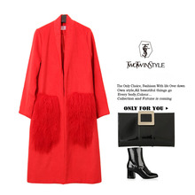 [TWOTWINSTYLE] 2017 Winter Red Real Natural Fur Pockets Long Sleeves Trench Women Woolen Coat New