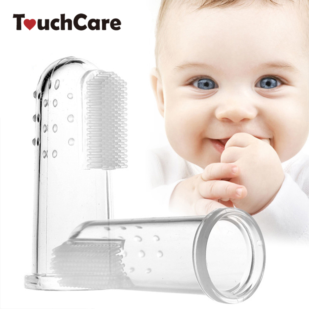 Baby Kids Silicone Finger Toothbrush Gum Brush Infant Deciduous Tooth Brush With Clear Massage Escova De Dente Infantil image
