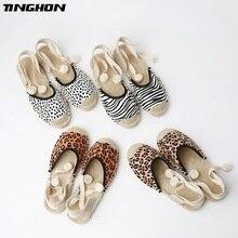 TINGHON New Summer Women Espadrilles Ankle Strap Platform Sandals Leopard Zebra Lace up Flat 35-43