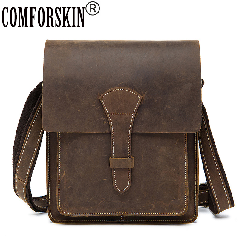COMFORSKIN Brand Messenger Bag Men Leather Cross-body Bag New Arrivals Vintage Cover Style Crazy Horse Leather Messenger Bags цена