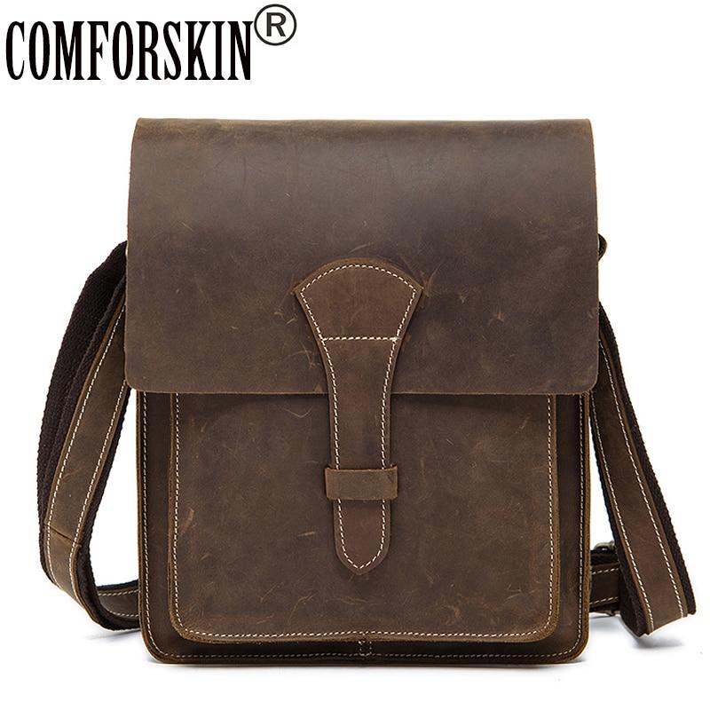COMFORSKIN Brand Messenger Bag Men Leather Cross-body Bag New Arrivals Vintage Cover Style Crazy Horse Leather Messenger Bags