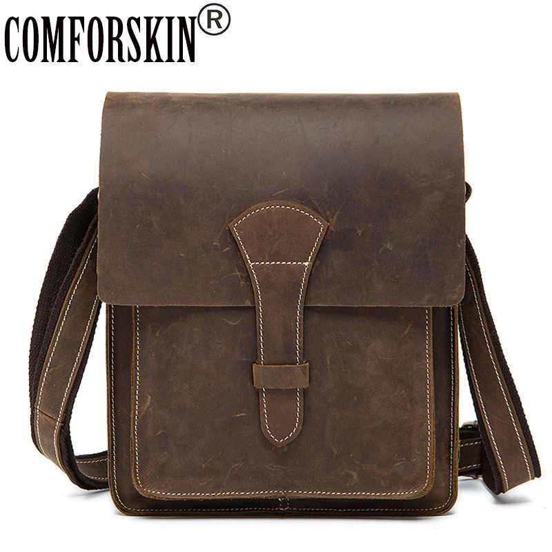 f15d91f33b73 COMFORSKIN брендовая сумка-мессенджер мужская кожаная сумка через плечо  Новые поступления Винтажный чехол стиль Crazy
