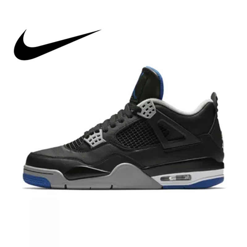 cb9cc95fe5c46e Official Original Nike Gs Air Jordan 4 Blue Women Basketball Shoes Sneakers  Sport Outdoor Breathable Medium