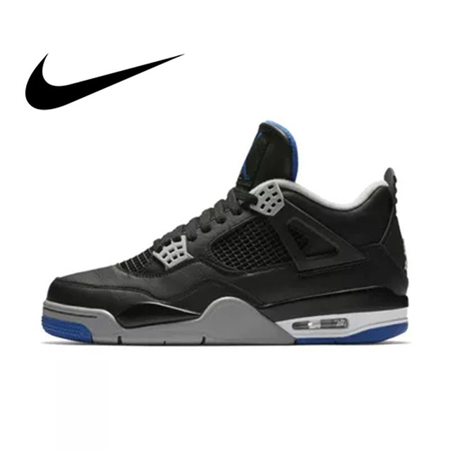 5c85e739e76 Official Original Nike Gs Air Jordan 4 Blue Women Basketball Shoes Sneakers  Sport Outdoor Breathable Medium Cut Thread 408452