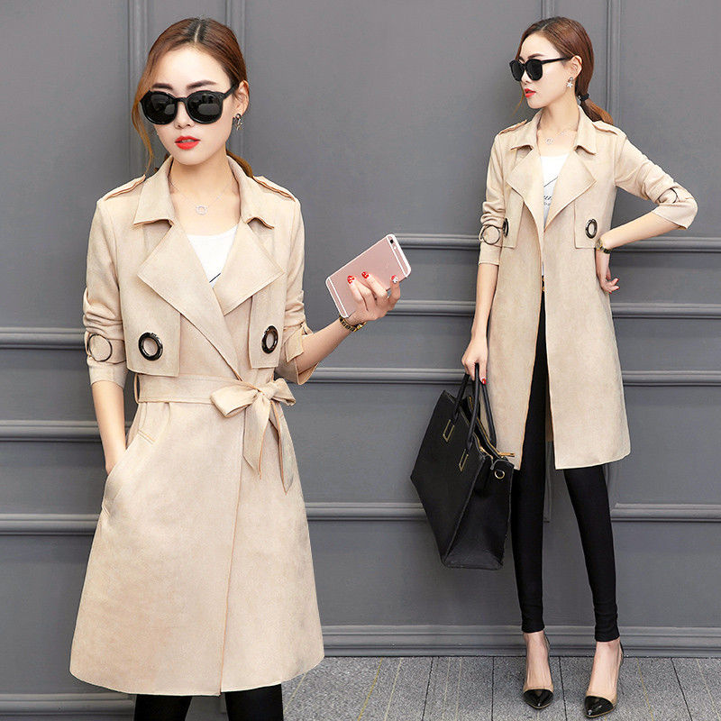 Autumn Elegant Suede Trench Coat For Women Sobretudo Feminino Long Outwear Windbreaker Vogue Cardigan Trench Maxi Coats C3486