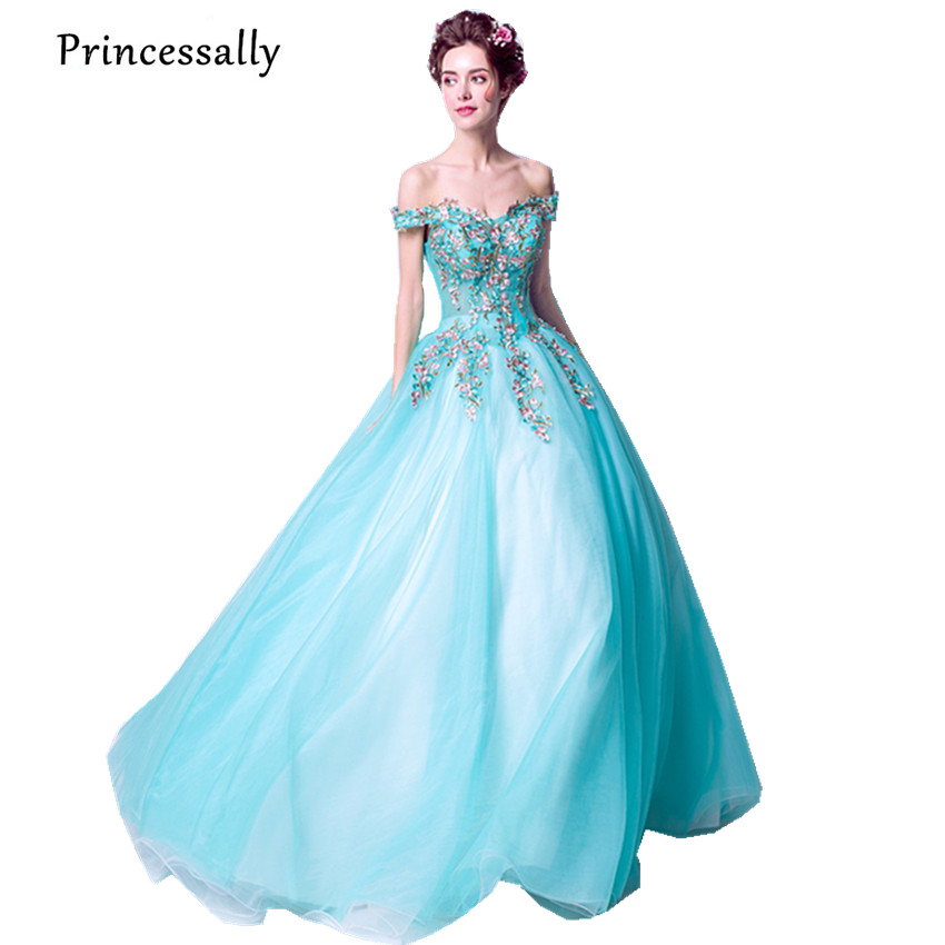 New Turquoise Evening Dresses Floor Length Cap Sleeves Embroidery Beading Photo Shooting Elegant Bride Formal Prom Party Gown