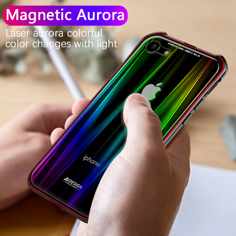 Luxury Snap Magnetic Adsorption case for iphone X iphone 7 8 Plus cases Magnet metal bumper aurora Colorful tempered glass cover