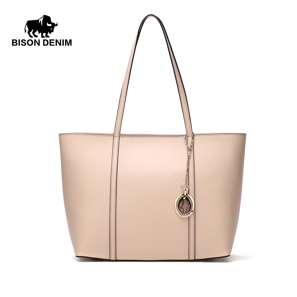 BISON DENIM High Quality Women Handbag 100% Genuine Leather Casual Large Capacity Bag Female Totes N1183 high quality travel canvas women handbag casual large capacity hobos bag hot sell female totes bolsas ruched solid shoulder bag