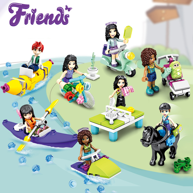 Hot Olivia Stephanie Emma Mia Dancet Friends Princess Girl Rowing Digital Building Blocks Brick Model Children's Gift Toys Jm255